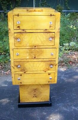 Gorgeous Olive Wood Art Deco style chest of drawers