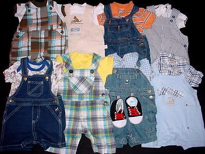 Used Baby Boy One Piece 0-3 3-6 Months Summer Overall Shorts Clothes Lot