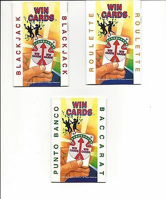 Set of 3 WIN CARDS Roulette Black Jack Baccarat handy cards fit in wallet
