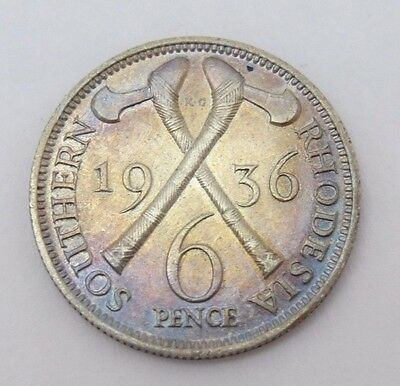 1936 Southern Rhodesia Sterling Silver, 6 Pence AU/UNC-Beautiful Toning