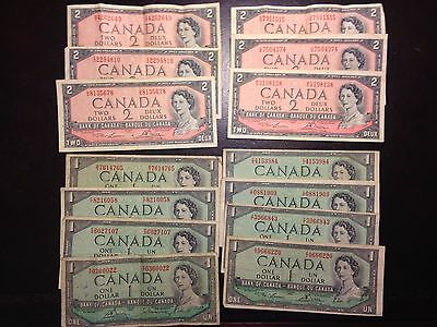 CANADA  (14 Notes) 1 and 2 Dollars  1954