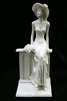 Elegant Woman Sitting by a Wall Italian Statue Figurine Sculpture Made in Italy