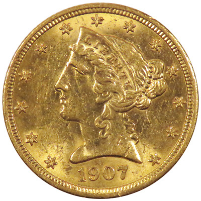 1907 $5 Gold Liberty Head Half Eagle 0.2419 troy oz