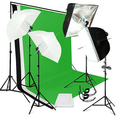 Photo Studio Lighting 3 Color Photography Umbrella Reflector Backdrop Stand Kit