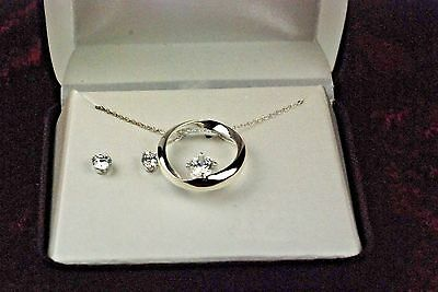 "STERLING SILVER   NECKLACE AND EARRING SET 18"" CHAIN  New In Box CZ?  99 cents"