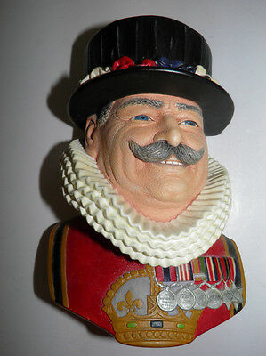 Vintage Bossons England Chalkware Head - Beefeater Man With Hat