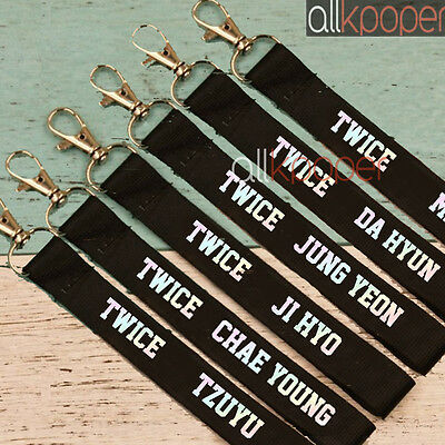 KPOP Twice Laser Lanyard Keychain Cellphone Holder Strap Name Cellphone Keyring