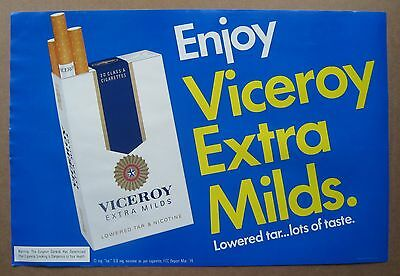 """RARE VICEROY EXTRA MILDS EARLY 1970's AD POSTER 12"""" X 18"""" TOBACCO CIGARETTES"""
