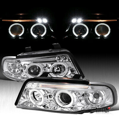 Fit 96 99 Audi A4 Clear Dual Halo LED Projector Headlight Head Lamps Left