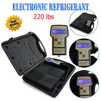 220 lbs Digital Refrigerant Charging Weight Scale with Case for HVAC + Tool Bag
