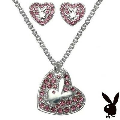 Playboy Jewelry Set Heart Necklace Earrings Pink Swarovski Crystal Silver Plated