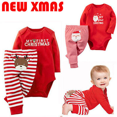 2PCS Set Newborn Toddler Baby Boys Xmas Clothes Romper Pants Santa Claus Outfits