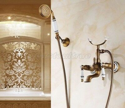 Bathroom Plumbing Antique Brass Clawfoot Tub Faucet With Hand Shower Etf308