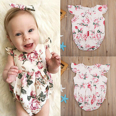 Newborn Infant Baby Girl Bodysuit Romper Jumpsuit Outfits Summer Clothes 0-24M