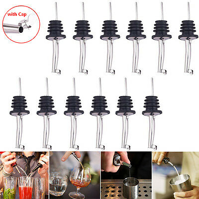 12Pcs Stainless Steel Wine Bottle Spout Stopper Flow Liquor Spirit Pourer w/Cap