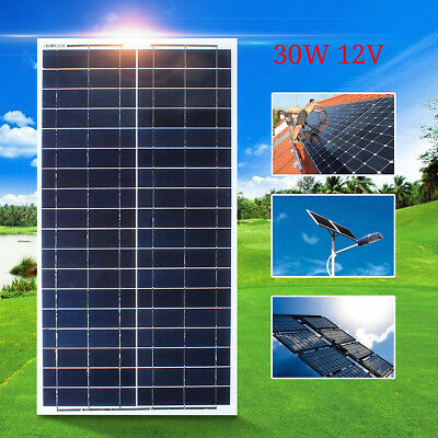 30W Watt 12V Solar Panel Kit Battery Charger Off Grid + 5m Wire For RV Boat Home