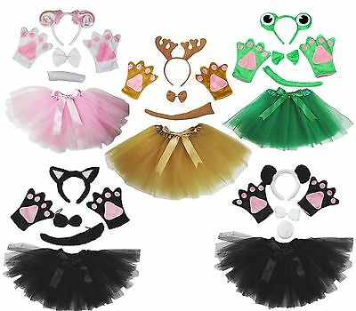 3D Brown Cow Headband Bow Tail Paw Gauze Skirt 5p Kid Child School Party Costume