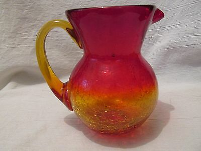Gorgeous Red and Gold Hand Blown Crackle Glass Pitcher Vase