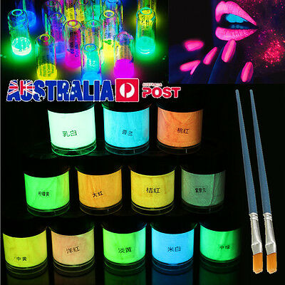 12PCS Glow in the Dark Acrylic Luminous Paint Bright Pigment Graffiti + 2 Brush