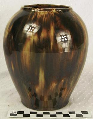 Vintage 1930s Brush McCoy Brown Oil Drip Onyx Pottery Vase Jar Beautiful! HH 169