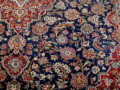 10X13 1940's SPECTACULAR FINE HAND KNOTTED ANTIQUE NAVY KORK KASHAN PERSIAN RUG
