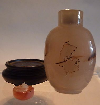 Old Chinese Moss Agate Snuff Bottle Carnelian Top No Mark Stand
