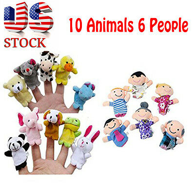 16PC Story Finger Puppets 10 Animals 6 People Family Members Educational Toy US