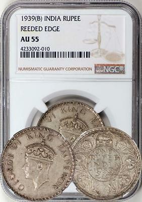 British India 1939-B Reeded Edge Rupee NGC AU-55 - Key Date