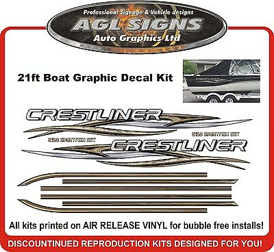 Huge Boat Graphic & Stripe fits Crestliner Sportfish SST 2150