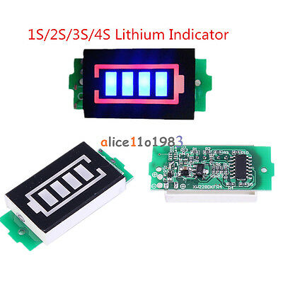 1S/2S/3S/4S 4.2/8.4/12.6/16.8V Lithium Battery Capacity Indicator Power Tester