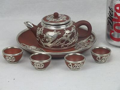 Miniature 20Th C Chinese Yixing Silver Dragons Bats Teaset - Marked