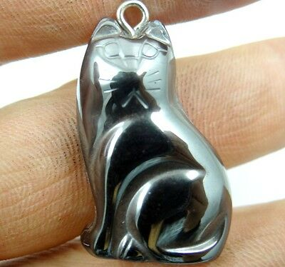 Hematite hand-Carved Cat Gemstone pendant necklace Jewelry making C19