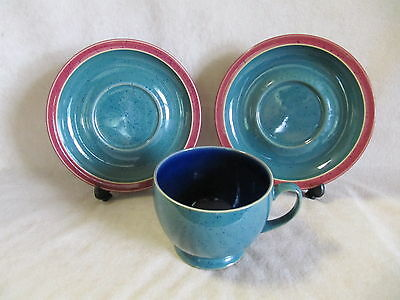 Denby Harlequin Breakfast Cup And Saucers Lot In Very Good Condition