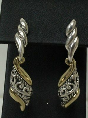 Relios Carolyn Pollack Sterling & Brass Scroll Design Post Back Dangle Earrings