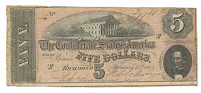 1864 Confederate Currency, $5 Note (1 Series), T69/cr-559, Fine