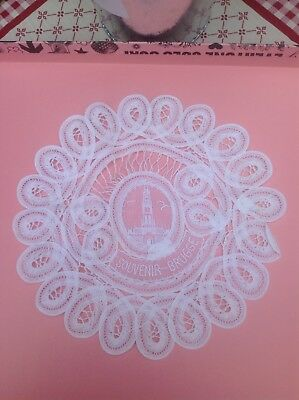 Vintage Delicate BRUGES White Hand Made Lace CATHEDRAL In Centre 7.5""