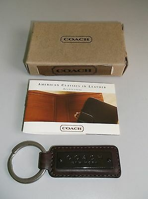 COACH Dark Brown Leather Key Ring NEW Gift Quality Key Chain