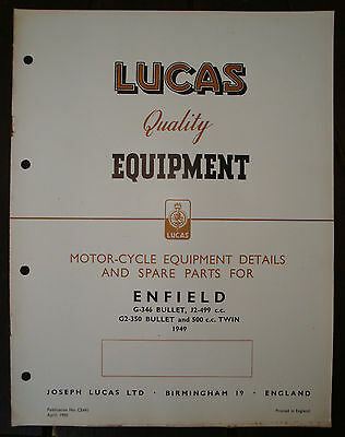 Vintage 1949 Enfield Bullet Lucas Spare Parts Booklet In Good Used Condition