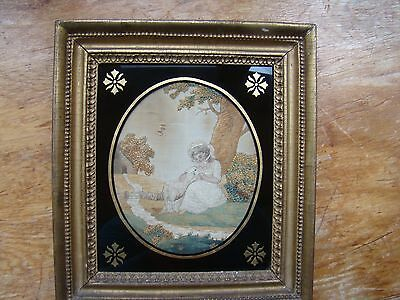 """antique 19C Wool EMBROIDERED Picture Woman Sheep on Hand Painted SILK 10"""" x 11"""""""