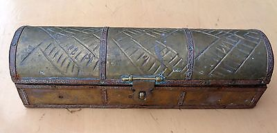 Vintage Brass Covered Box In Shape Of Chest: Trench Art? Arts & Crafts