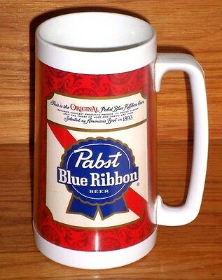 """* Vintage 1970's PABST BLUE RIBBON BEER  Insulated Thermal Mug 6 1/2"""""""