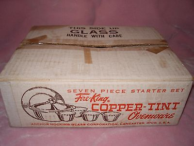 Fire King 7 Piece Copper Tint Ovenware Starter Set - New In Box