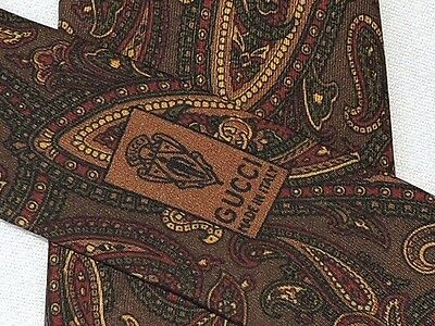 "Gucci  Men's Tie Brown & Green & Red/paisley  3.3/8""  56"" Italy"