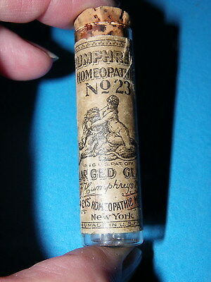 ❤ VINTAGE MINIATURE glass bottle HUMPHREYS HOMEOPATHIC # 23 FOR ENLARGED GLANDS