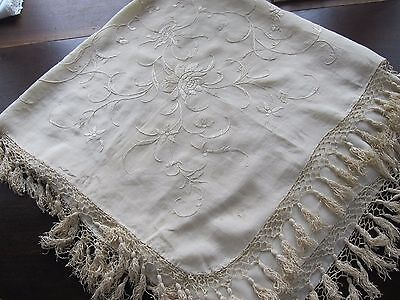 Antique Victorian Edwardian Embroidered Small Ivory Silk Piano Shawl Scarf Wrap