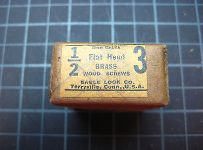 Vintage 1/2 Inch #3 Flat Head Slotted Brass Wood Screws