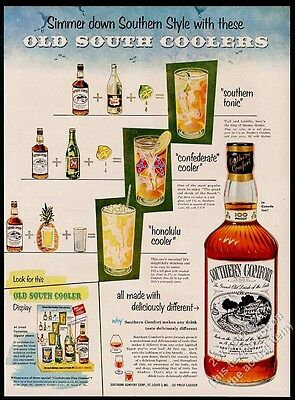 1953 Southern Comfort Confederate Cooler drink recipe vintage print ad