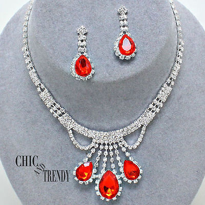 Clearance Red Clear Crystal Prom Wedding Formal Necklace Jewelry Set Chic Trendy