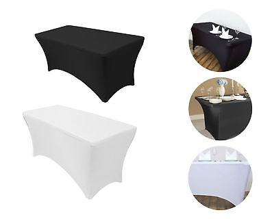 White Black Tablecloth Rectangular Fitted Stretch Table Cover Outdoor Party