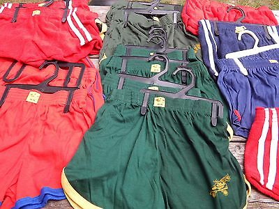 Vintage 1970s Red Terry Cloth & Green Roller Skate Oympic Shorts NOS Lot 17